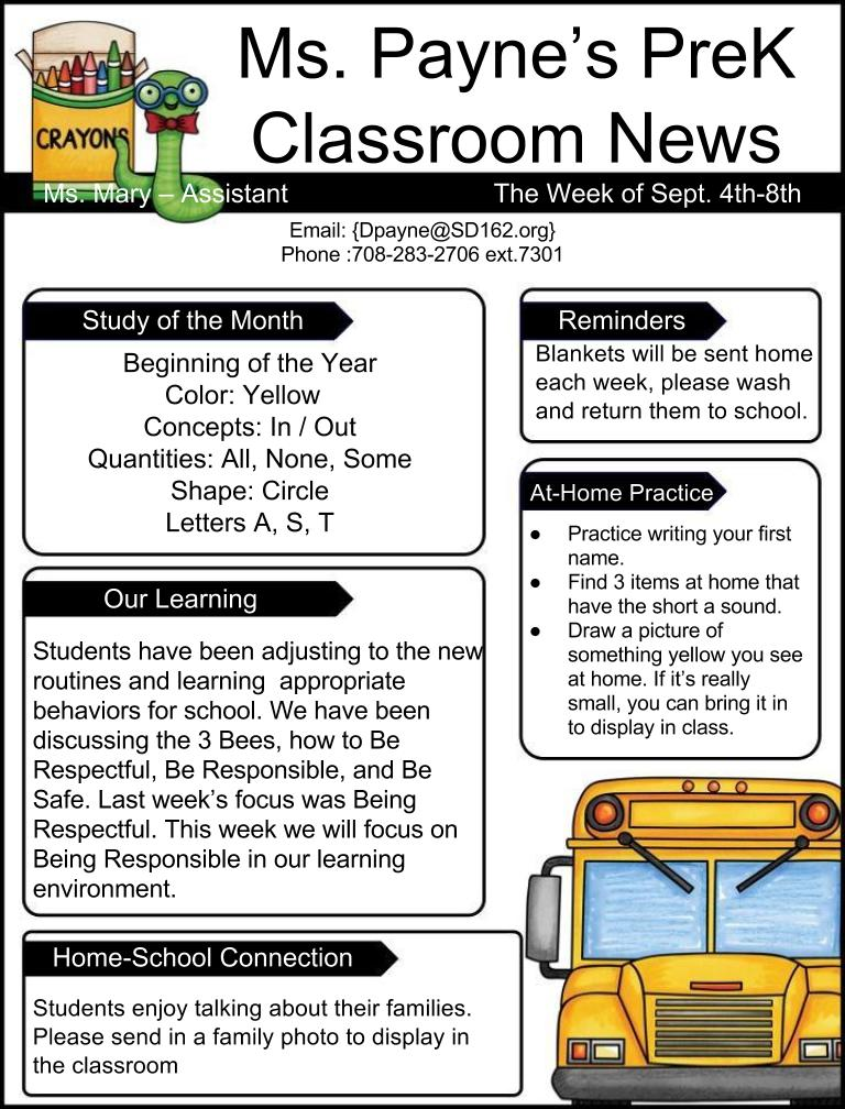 Payne Danielle Classroom News Assignments